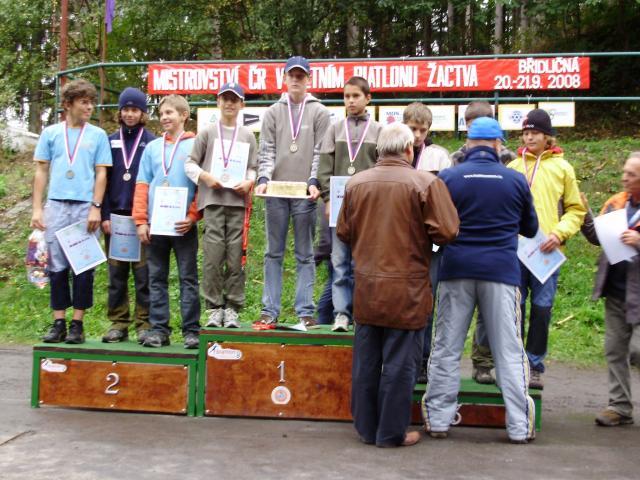 Mistrovství ČR v letním biatlonu  Břidličná 19.-21.9.2008 - štafeta žáci B